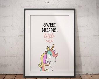Unicorn Quote Sweet Dreams Little One | Unicorn Printable, Unicorn Wall Art, Unicorn Decor, Animal Print, Dream Big Quote, Printable Poster