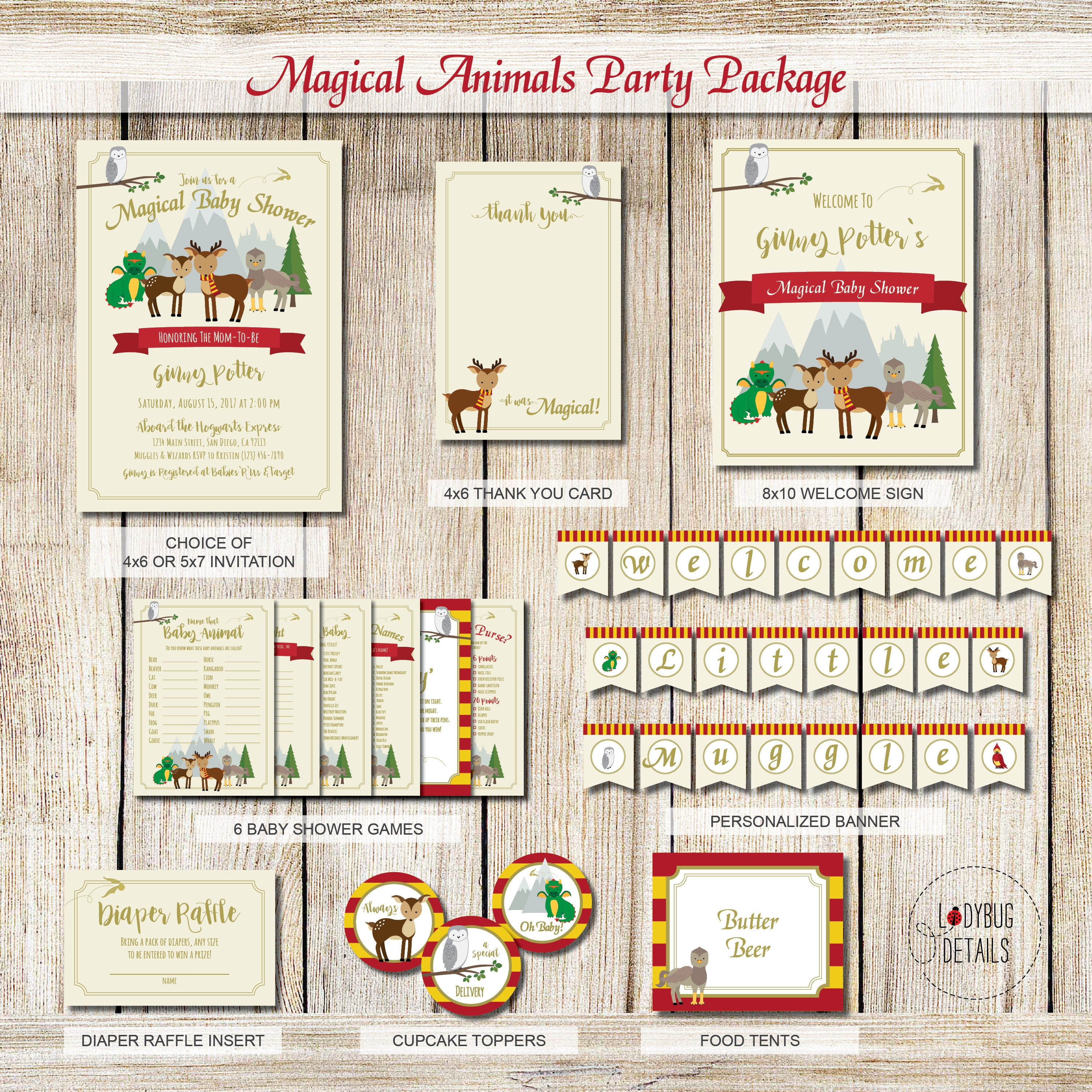 Magical Woodland Baby Shower, Harry Potter Baby Shower Package, Harry Potter  Animals, Harry