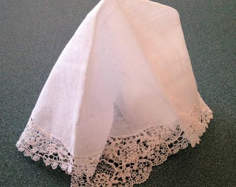Antique Lace Wedding Handkerchief, Vintage White Wedding Hanky, Delicate Lace Hanky, Collectible Hanky