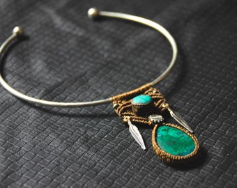 Chrysocolle Torc Feathers Turquoise - Tribal - Ethnic - Boho - Gypsy - Tribal Fusion - Gems - Native American - Design - Unique - Cosplay