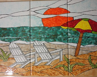 "A Day on the Beach Back Splash Mural Hand Painted Kiln Fired Decorative Ceramic Wall Art Tile 12"" X 18"""
