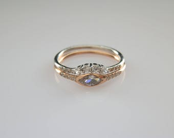 Marquise Ring Set - Marquise Engagement Ring - Alternative Engagement Ring - 925K Silver Ring - Christmas Gift