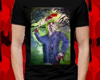 T-shirt Jason Voorhees, Friday the 13th, man. Gothic, horror cinema, illustration...