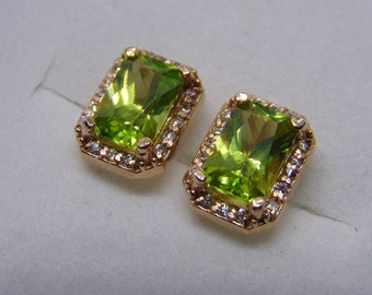 Several gems to choose from Emerald cut earrings diamond accented peridot rose gold yellow gold white gold sterling aquamarine garnet ruby