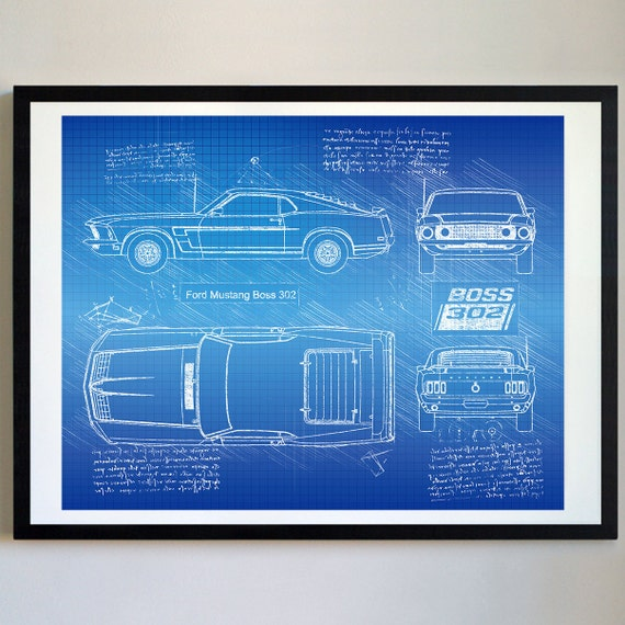 Ford mustang boss 302 1969 da vinci sketch mustang artwork like this item malvernweather Image collections