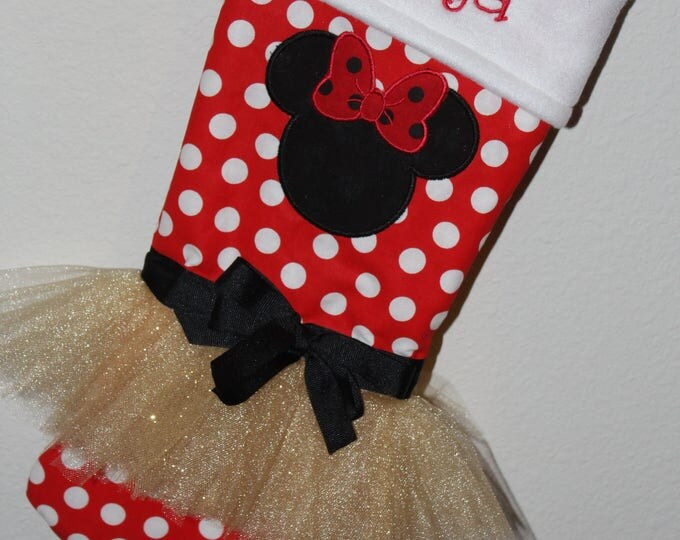 Disney inspired Christmas stocking, Minnie Mouse inspired Christmas stocking, Tutu stocking,Gold stocking,Personalized Christmas stocking