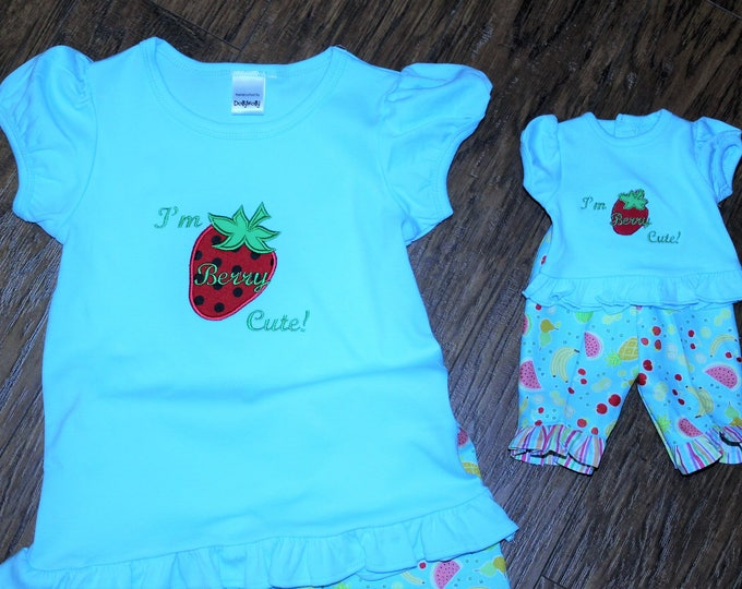 "Girl and AG doll matching outfits,18 inch doll matching outfit,18"" doll,AG doll clothes,Girl strawberry shirt,Girls ruffle capri pants,Blue"
