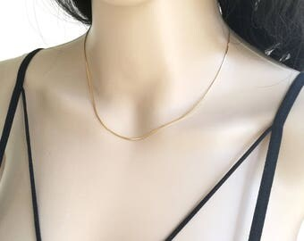 Dainty Chain Necklace, Snake Chain Necklace, Snake Chain, Simple Chain Necklace, Delicate Chain Necklace, Shiny Gold Chain Necklace