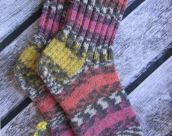 knitted socks knit socks women socks funky socks striped socks warm socks women hand knit socks colorful socks Casual warm socks knitted