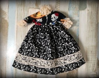 Vestido blythe, ropa blythe, vestido negro blythe, vestido pullip, ropa pullip, vestido algodón blythe, catrina, calavera mejicana