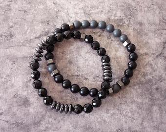 Ensemble Bracelets Homme, Bracelet Noir, Bracelet Rock, Bracelet Biker, Bracelet Onyx, Lot Bracelets, Bracelet Elastique, Fête des Pères