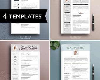 Resume Template Bundle - 4 Pack | Creative, Professional, Modern CVs + Cover Letters | Microsoft Word | + Free Tools | Instant Download