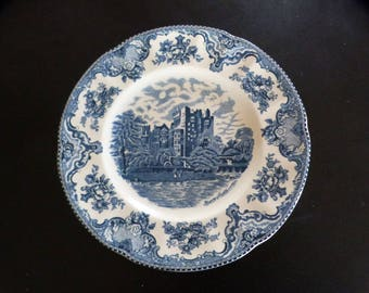"Blue transfer ware English plate. Johnson Bros Old British Castles 10""plate."