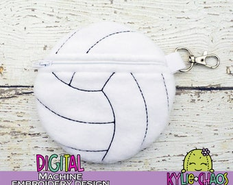 Volleyball Zippered Pouch ITH In the Hoop Machine Embroidery Design Pattern