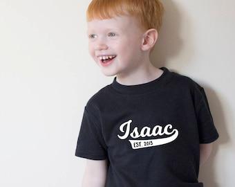 Personalised Baseball Name T Shirt, Retro Style, Kids Tee, Established, Slogan Tee, Personalised T Shirt, Toddler T Shirt, Baby Top