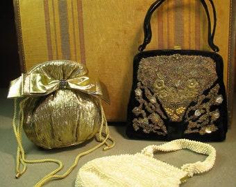 3 Vintage Evening Handbags Corde-bead, Veldore, Gold Metallic drawstring