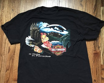 Vintage 90's Harley Davidson Graphic T-shirt Size L Large Maui Hawaii A ride in paradise motorcycle
