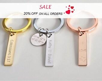 Personalized Keychain, Coordinates Keychain, Roman Numerals Keychain, Couples Keychain, Christmas Gift, Gift for him, Boyfriend Gift