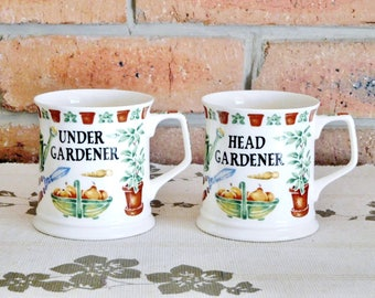 Head Gardener & Under Gardener fine bone china mugs, made in England by Past Times, 1990s