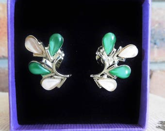 1960s silvertone clip on earrings, non pierced, green and pale pink stones, retro jewellery, gift box
