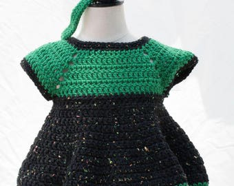 Crocheted Pinafore Dress: Size 3-6 months