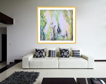 Giclée Print on Canvas, Abstract Painting, Modern Wall Art, Contemporary Green Yellow Print, Home Cosy Painting, Wall Luxory Decor Art Print