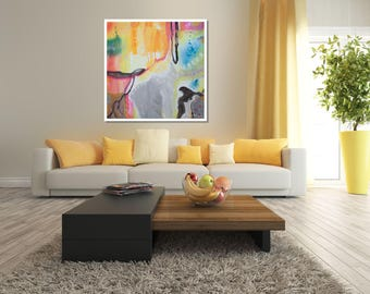 Orange Grey Wall Art Print, Abstract Art, Canvas Painting, Modern Acrylic Abstract Painting, Giclée, Wall Canvas Art, Contemporary Abstract