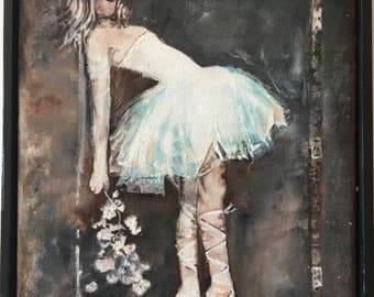 Ballet dancer original oil painting 8x10 ballerina painting on canvas ballet artwork