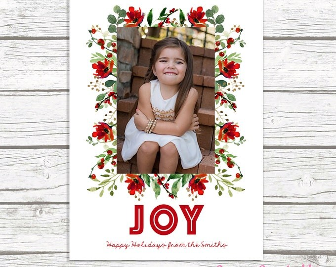Holly Christmas Card, Christmas Photo Card, Red Floral Christmas Card, Holiday Photo Card, Christmas Picture Card, Greenery Christmas Card