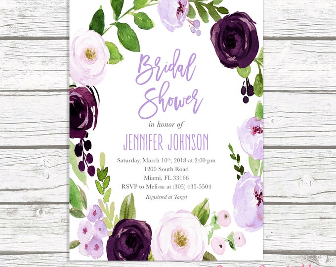 Lavender Bridal Shower Invitation, Purple Bridal Shower Invitation, Purple Floral Bridal Shower Invitation, Eggplant Bridal Shower Invite