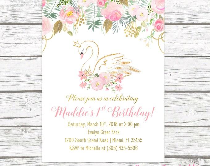 Swan Birthday Invitation, Swan Invitation, Swan Princess Birthday Invitation, Pink and Gold Birthday Invite Girl, First 1st Birthday Invite