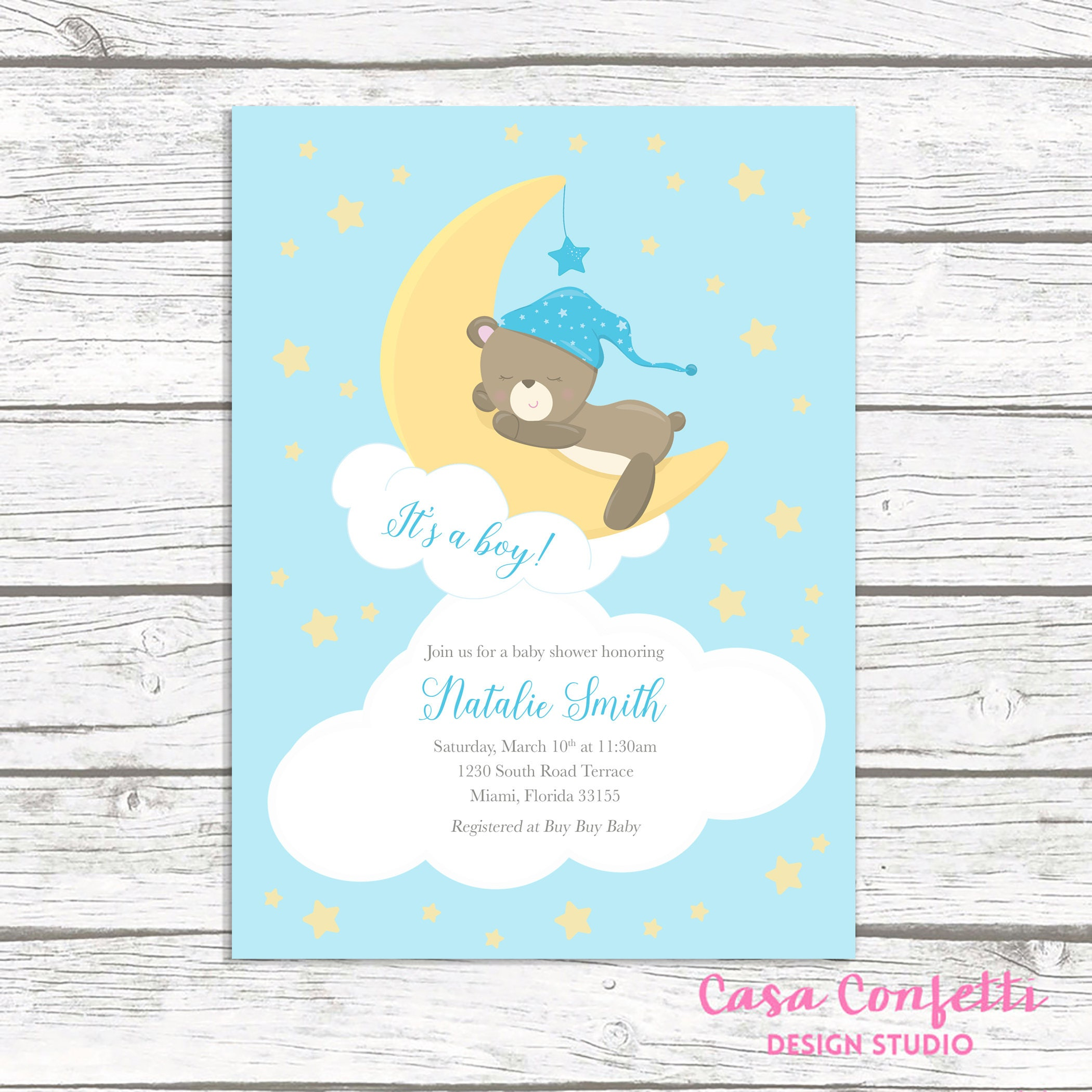 Boy Baby Shower Invitation, Teddy Bear Baby Shower Invitation ...
