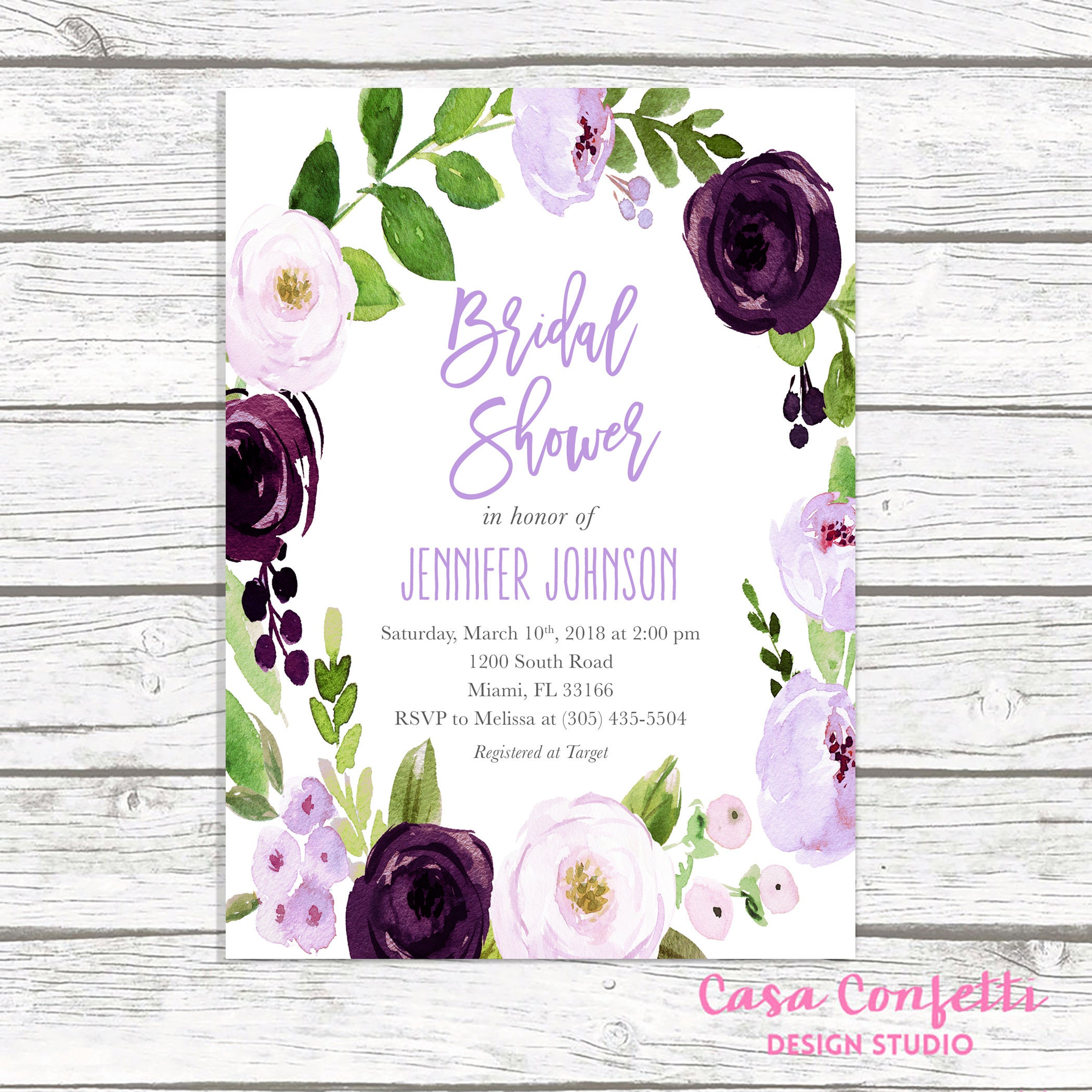 bridal shower invitation with purple flowers and wedding dress ...