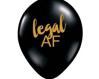 Legal AF Balloon, 21st Birthday Party Decoration, 21st Birthday Party, 21st Birthday Balloon, Finally Legal, 18th Birthday, Legal AF