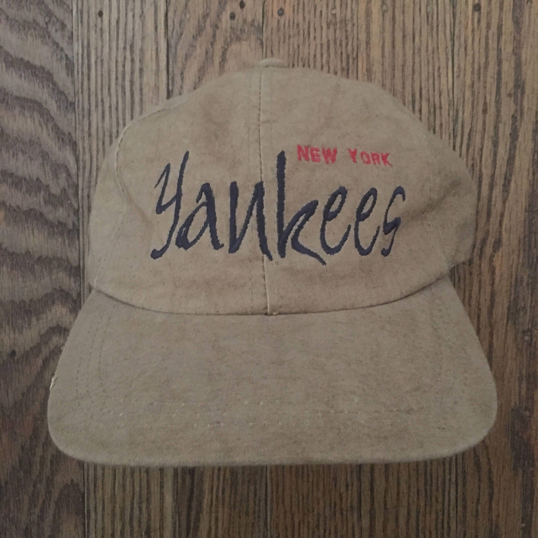 fa0a25fa5f3 Vintage 90s The Game New York Yankees MLB Strapback Hat Baseball Cap ...