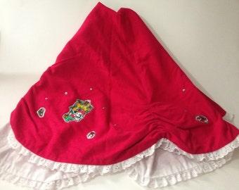 vintage handmade disney mickey mouse christmas tree skirt 40 red holiday decor - Disney Christmas Tree Skirt
