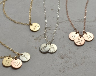 Small disk initial necklace, Personalized Necklace, circle tag necklace, bridesmaid gifts, new mom, new baby, mom gifts, new grandma, DISK