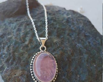 Rose Quartz Pendant with Silver Necklace