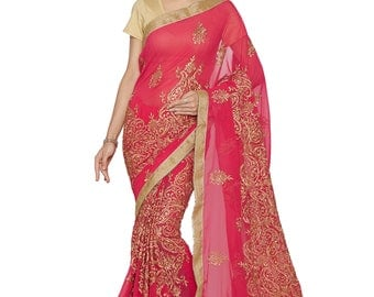 Indian Designer Pink Colored 60 Gm Georgette Saree  Formal Bridal Saree Party Wear Saree for Women