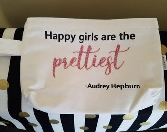 Ivory/White Cotton Canvas Zipper Makeup Bag/Pencil Case/Cosmetic Bag/Happy Girls are the Prettiest Audrey Hepburn Quote