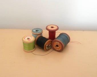 5 Thread Spools, Wabi Sabi Home Decor, Wooden Thread Spools, Chadwicks, Molnlycke, JP Coats, Sewing Thread, Craft Spools