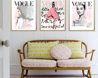 Vogue Prints - Fashion Wall Art - Audrey Hepburn - Fashion Poster - Set of 3 Vogue Prints - Vogue Poster - Printable - Audrey Hepburn Print