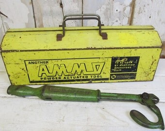 Vintage Metal Yellow Tool Box with Tray, Industrial Decor, Rustic Decor, Man Cave