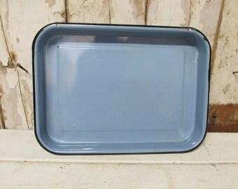 Vintage Blue Enamel Pan, Enamel Baking Pan, Kitchen Decor