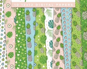 Tropical Doodles Collection Digital Papers // Tropics Pineapple Hand Drawn Stickers Paper Pack Seamless Pattern Graphic Illustration Clipart