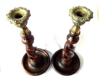 "FREE SHIPPING Antique Barley Twist Candlesticks,  Pair of Hand Turned Oak Candlesticks, Brass Repousse, Victorian Era Circa 1880 12"" x 5.25"""