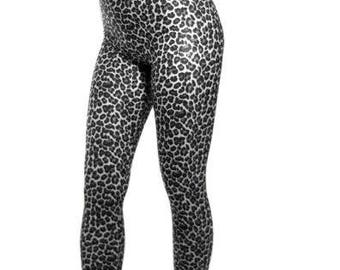 High Waisted footed spandex leggings tights leopard print black white