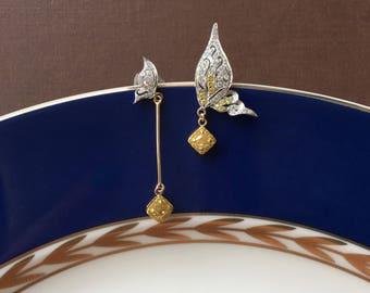 Yellow Gold Drop Earrings Butterfly Earrings Yellow Diamond Earrings