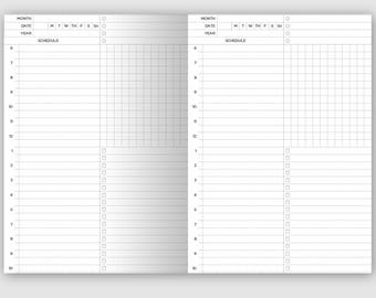 B6 DAILY View Schedule Traveler's Notebook Printable Insert - Do1P Minimalist & Clean