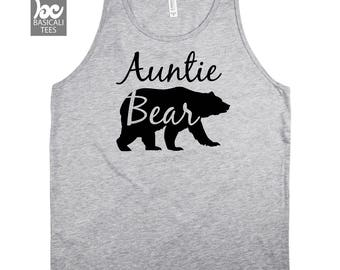 Aunt Shirt- Auntie Bear Tank Top -Aunt Gift , Wife , Gift For Her , Birthday , Family Gifts,
